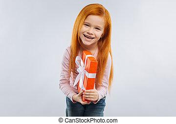 portret, rodzaj, aparat fotograficzny, uśmiechnięta dziewczyna