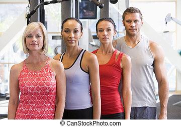 portret, sala gimnastyczna, mężczyźni, kobiety