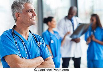 portret, senior, doktor, medyczny, zaufany