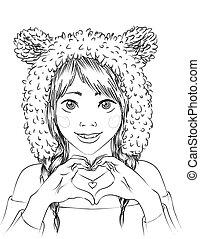 portret, sprytny, dziewczyna, zwierzę, hat.