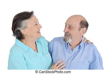portret, starsza para, szczęśliwy