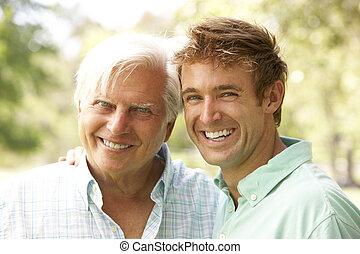 portret, starszy człowiek, dorosły, syn