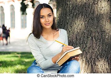 portret, student, samica, szczęśliwy