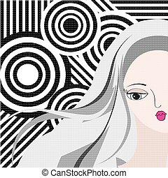 portret, styl, kobieta, młody, retro