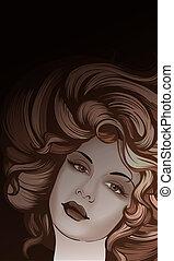 portret, styl, kobieta, retro