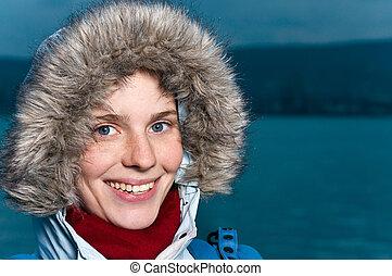 portret, szczęśliwa kobieta, zima, młody