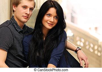 portret, szczęśliwa para, młody