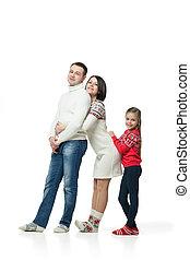 portret, szczęśliwa rodzina, młody