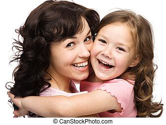 portret, szczęśliwy, córka, jej, macierz