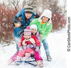 portret, szczęśliwy, zima, rodzina, młody