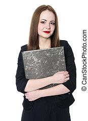 portret, szczelnie-do góry, kobieta handlowa