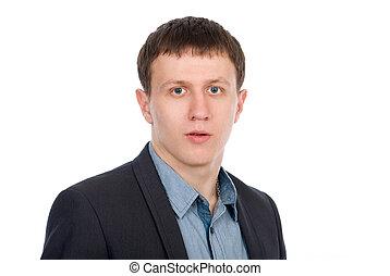 portret, szczelnie-do góry, młody, student.