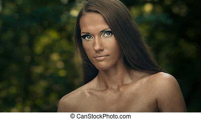 portret sztuki, od, kobieta