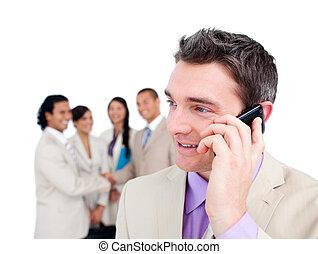 portret, telefon, biznesmen, elegancki