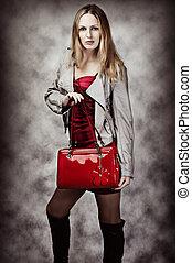 portret, torba, kobieta, fason, sexy