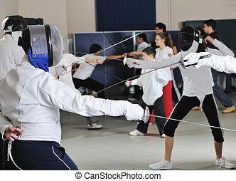 portret, trening, sport, atleta, miecz