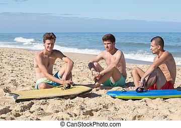 portret, trzy, chłopcy, plaża