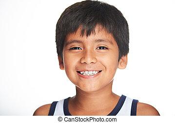 portret, uśmiechanie się, chłopiec