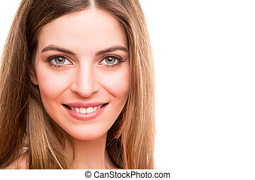 portret, uśmiechnięta kobieta, młody
