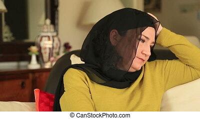 portret, uśmiechnięta kobieta, muslim
