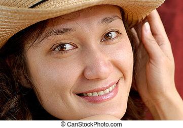 portret, uśmiechnięty szczęśliwy, dziewczyna, twarz