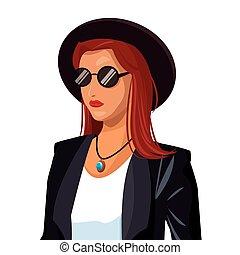 portret, wo, fason, czerwony włos, kapelusz, sunglasses, czarna marynarka