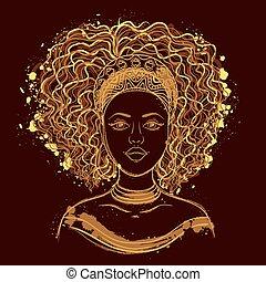 portret, woman., afrykanin