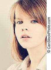 portret, woman., fason, młody