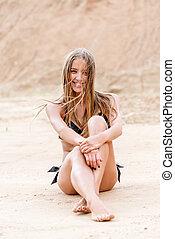 portret, wzór, piasek morze, bikini, posiedzenie
