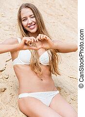 portret, wzór, piasek morze, pionowy, bikini