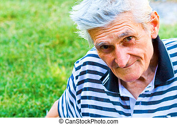 portret, zaufany, starszy człowiek, jeden