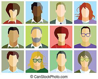 portret, zbiór, ludzie