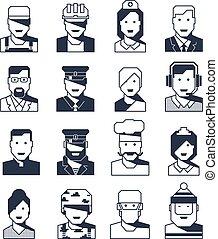 portretten, anders, beroepen, mensen