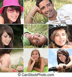 portretten, van, jongeren