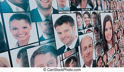 portretten, velen, vrijstaand, mensen