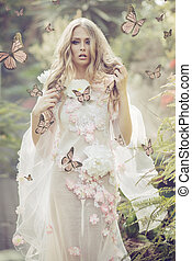 portrhe, jeune dame, entre, les, voler, papillons