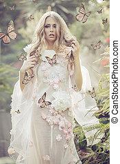 portrhe, jonge dame, tussen, de, vliegen, vlinder