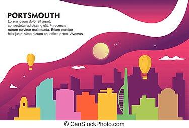 Portsmouth City Building Cityscape Skyline Dynamic Background Illustration