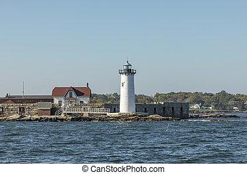 portsmouth, fyrtårn havn, og, fort, forfatning, stat, historisk site, udsigter, ind, sommer, ny hampshire, united states