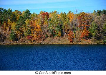 portsmouth, scénique, -, lac, minnesota, automne