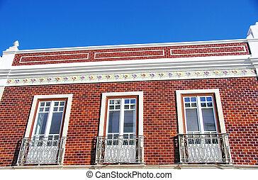 portugál, csempeborítás, fal, épület, épülethomlokzat, jellegzetes