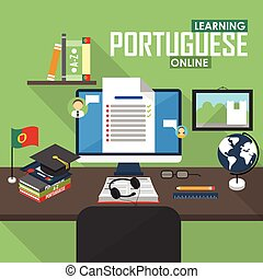portugál, e-learning, language.