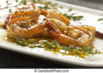 portugais, ail, crevette