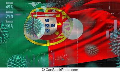 portugais, couronne, virus, drapeau, macro, soulevant en ...