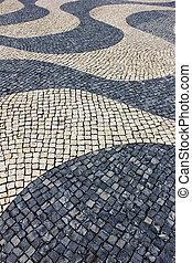 portugais, portugal, détail, trottoir, lisbonne, typique