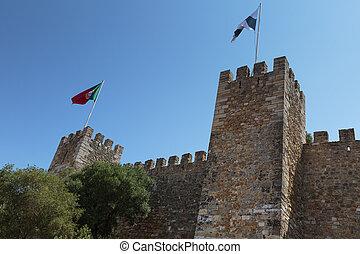 portugais, sao, jorge:, mur, externe, lisbonne, fla, château