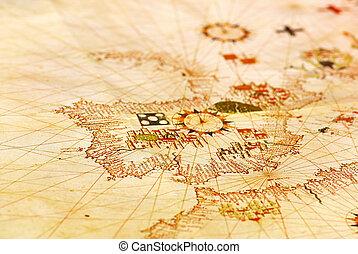 portugais, vieux, map.
