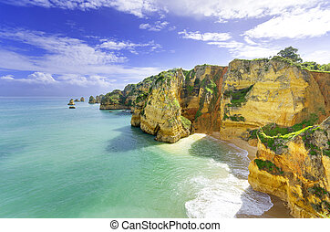 (portugal), 田園詩, 拉各斯, algarve, 海灘, 風景