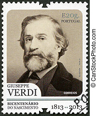 PORTUGAL - 2013: shows portrait of Giuseppe Verdi (1813-1901), I