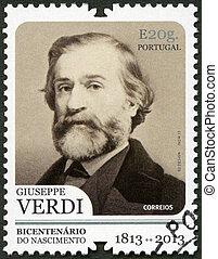 PORTUGAL - 2013: shows portrait of Giuseppe Verdi (1813-1901), I